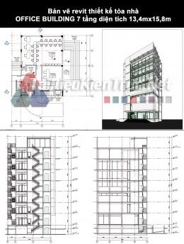 Bản vẽ revit thiết kế tòa nhà OFFICE BUILDING 7 tầng diện tích 13,4mx15,8m