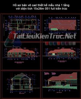 Hồ sơ bản vẽ cad thiết kế mẫu nhà 1 tầng với diện tích 15x26m 051 full kiến trúc