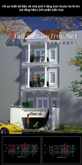 Hồ sơ thiết kế Bản vẽ nhà phố 4 tầng kích thước 5x16.5m (có tầng hầm) 244 phần kiến trúc