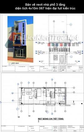 Bản vẽ revit nhà phố 3 tầng diện tích 4x10m 067 hiện đại full kiến trúc