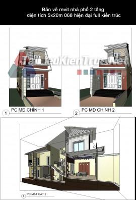 Bản vẽ revit nhà phố 2 tầng diện tích 5x20m 068 hiện đại full kiến trúc