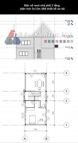 Bản vẽ revit nhà phố 2 tầng diện tích 5x12m 069 thiết kế sơ bộ