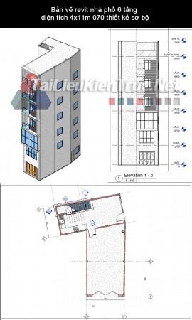 Bản vẽ revit nhà phố 6 tầng diện tích 4x11m 070 thiết kế sơ bộ