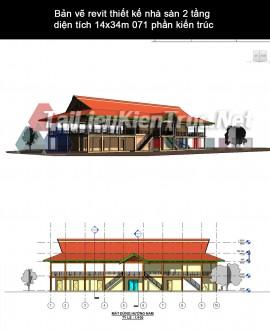 Bản vẽ revit thiết kế nhà sàn 2 tầng diện tích 14x34m 071 phần kiến trúc