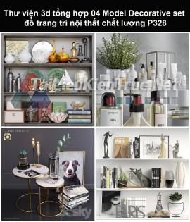 Thư viện 3d tổng hợp 04 Model Decorative set đồ trang trí nội thất chất lượng P328