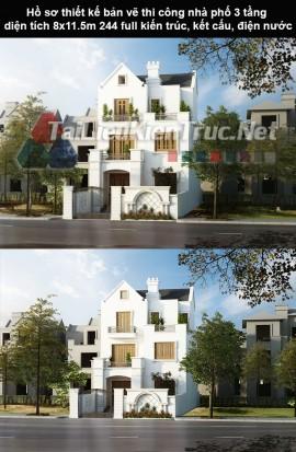 Hồ sơ thiết kế bản vẽ thi công nhà phố 3 tầng diện tích 8x11.5m 244 full kiến trức, kết cấu, điện nước
