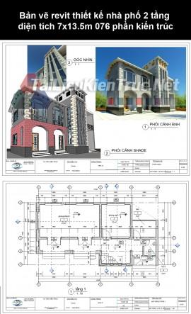 Bản vẽ revit thiết kế nhà phố 2 tầng diện tích 7x13.5m 076 phần kiến trúc