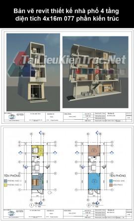 Bản vẽ revit thiết kế nhà phố 4 tầng diện tích 4x16m 077 phần kiến trúc