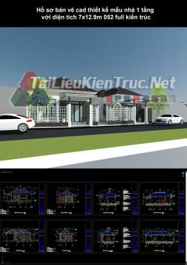 Hồ sơ bản vẽ cad thiết kế mẫu nhà 1 tầng  với diện tích 7x12.9m 052 full kiến trúc