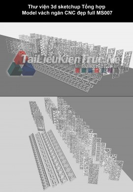 Thư viện 3d Sketchup về Hoa văn vách ngăn CNC MS007