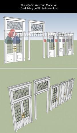 Thư viện 3d sketchup Model về cửa đi bằng gỗ P11 full download