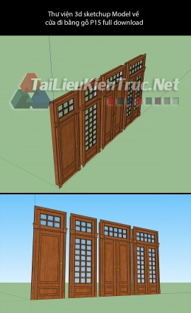 Thư viện 3d sketchup Model về cửa đi bằng gỗ P15 full download