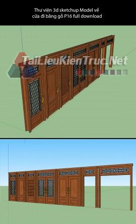 Thư viện 3d sketchup Model về cửa đi bằng gỗ P16 full download