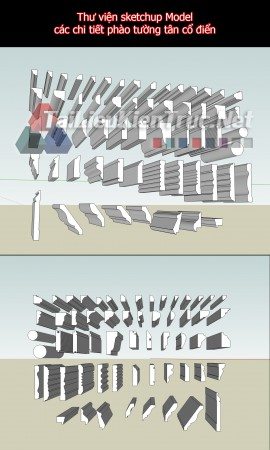 Thư viện sketchup Model các chi tiết phào tường tân cổ điển