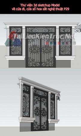 Thư viện 3d sketchup Model về cửa đi, cửa sổ hoa sắt nghệ thuật P29