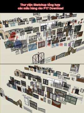 Thư viện Sketchup tổng hợp các mẫu hàng rào P17 Download