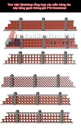 Thư viện Sketchup tổng hợp các mẫu hàng rào xây bằng gạch thông gió P18 Download