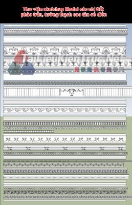 Thư viện sketchup Model các chi tiết phào trần, tường thạch cao tân cổ điển