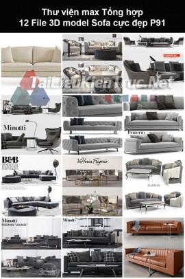 Thư viện max Tổng hợp 12 File 3D model Sofa cực đẹp P91