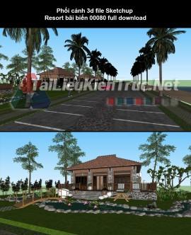 Phối cảnh 3d file Sketchup Resort bãi biển 00080 full download