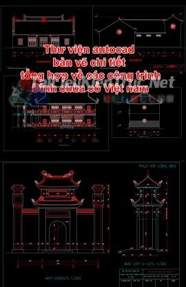 Thư viện autocad bản vẽ chi tiết tổng hợp về các công trình đình chùa cổ Việt nam