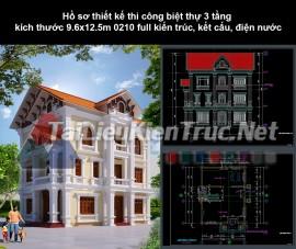 Hồ sơ thiết kế thi công biệt thự 3 tầng kích thước 9.6x12.5m 0210 full kiến trúc, kết cấu, điện nước