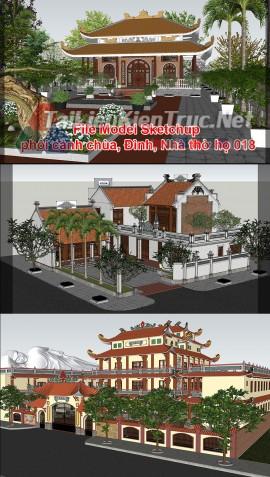 File Model Sketchup phối cảnh chùa, Đình, Nhà thờ họ 018