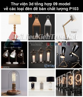 Thư viện 3d tổng hợp 09 model về các loại đèn để bàn chất lượng P103