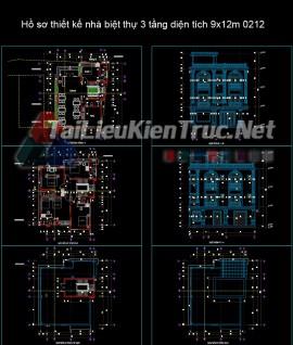 Hồ sơ thiết kế nhà biệt thự 3 tầng diện tích 9x12m 0212