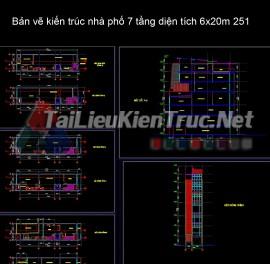 Bản vẽ kiến trúc nhà phố 7 tầng diện tích 6x20m 251