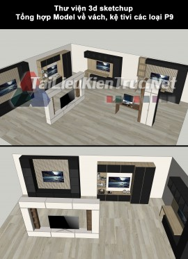 Thư viện 3d sketchup Tổng hợp Model về vách, kệ tivi các loại P9