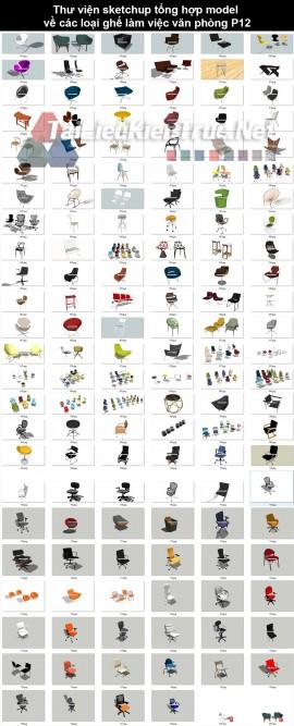Thư viện sketchup tổng hợp model về các loại ghế làm việc văn phòng P12