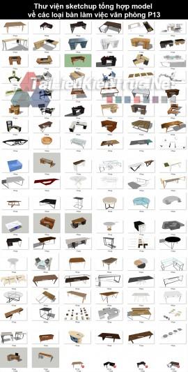 Thư viện sketchup tổng hợp model về các loại bàn làm việc văn phòng P13