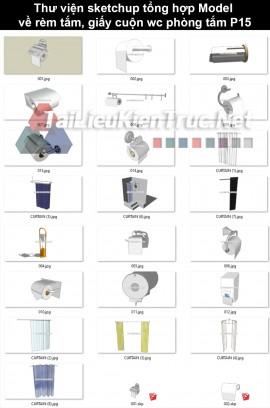 Thư viện sketchup tổng hợp model về rèm tắm, giấy cuộn wc phòng tắm P15