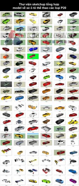 Thư viện sketchup tổng hợp model về xe ô tô thể thao các loại P20