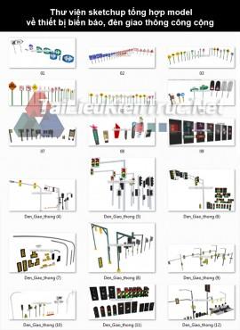 Thư viện sketchup tổng hợp model về thiết bị biển báo, đèn giao thông công cộng P27
