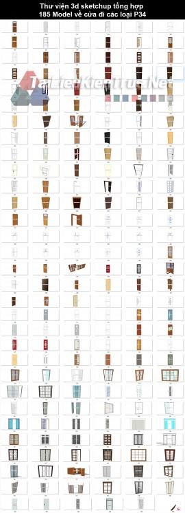 Thư viện 3d sketchup tổng hợp 185 Model về cửa đi các loại P34
