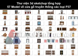 Thư viện 3d sketchup tổng hợp 57 Model về cửa gỗ truyền thống các loại P37