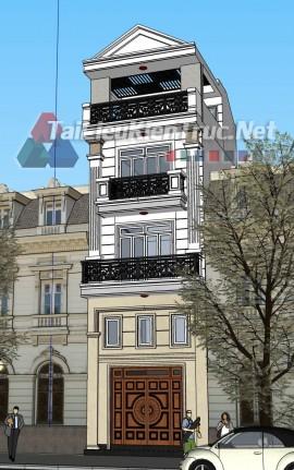 Phối cảnh Sketchup bao cảnh nhà phố phong cách tân cổ điển 051 download