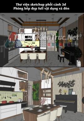 Thư viện sketchup phối cảnh 3d Phòng bếp đẹp full vật dụng và đèn