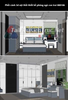Phối cảnh 3d sketchup nội thất thiết kế phòng ngủ con trai 000106