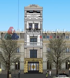Phối cảnh Sketchup bao cảnh nhà phố phong cách tân cổ điển 052 download