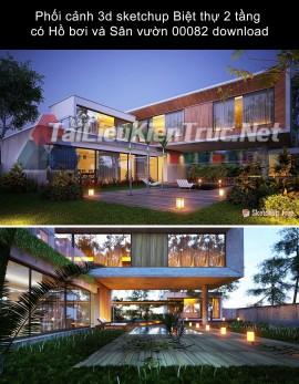 Phối cảnh 3d sketchup Biệt thự 2 tầng có Hồ bơi và Sân vườn 00082 download