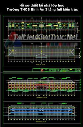 Hồ sơ thiết kế nhà lớp học Trường THCS Bình Ân 3 tầng full kiến trúc