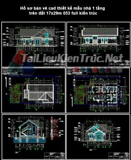 Hồ sơ bản vẽ cad thiết kế mẫu nhà 1 tầng trên đất 17x29m 053 full kiến trúc