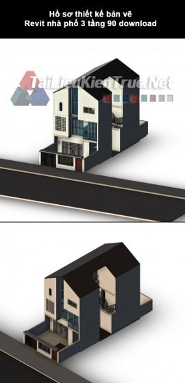 Hồ sơ thiết kế bản vẽ Revit nhà phố 3 tầng 90 download