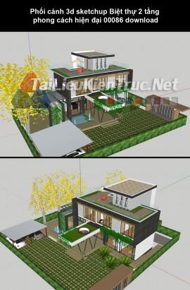 Phối cảnh 3d sketchup Biệt thự 2 tầng phong cách hiện đại 00086 download