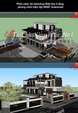 Phối cảnh 3d sketchup Biệt thự 3 tầng phong cách hiện đại 00087 download