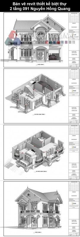 Bản vẽ revit thiết kế biệt thự 2 tầng 091 Nguyễn Hồng Quang