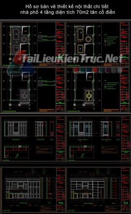 Hồ sơ bản vẽ thiết kế nội thất chi tiết nhà phố 4 tầng diện tích 70m2 tân cổ điển